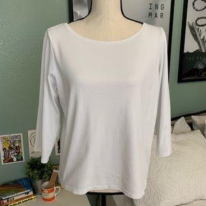 Eileen Fisher Basic White 3/4 Organic Cotton Tee L